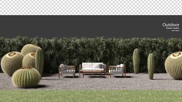 Mobilier extérieur sur gravier et cactus