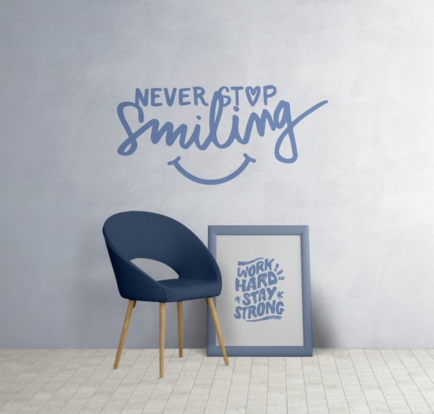 Mobilier minimaliste avec citations de motivation