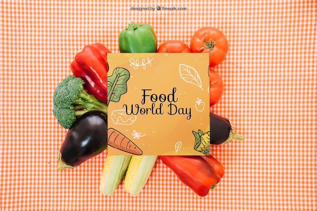 Mockup avec carte de carré de légumes