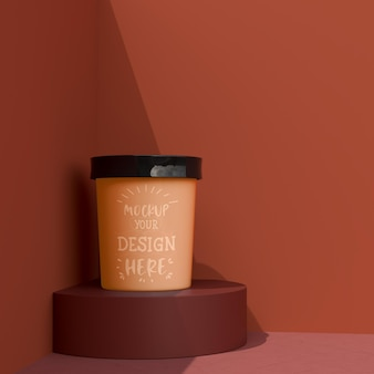 Mockup tasse de crème glacée. maquette de modèle d'emballage pour crème glacée, yogourt, pudding, collation, bonbons, dessert