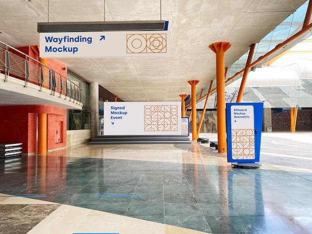 Mockup wayfinding panneau d'affichage et promotion de l'événement d'affiche