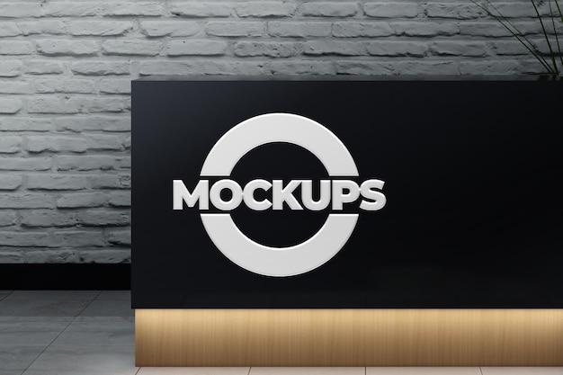 Mockups 3d logo en relief style acrylique avec réservation de table avec lumière led