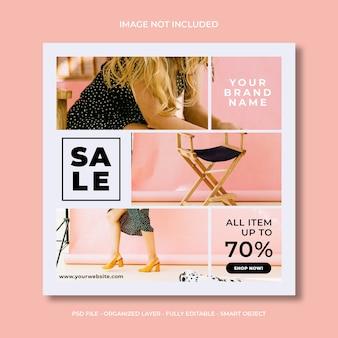 Mode de vente sur les médias sociaux instagram ou carré