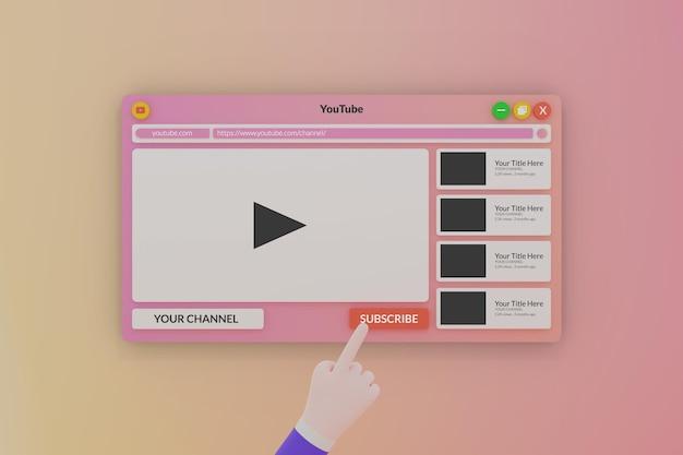 Modèle 3d de lecteur multimédia youtube