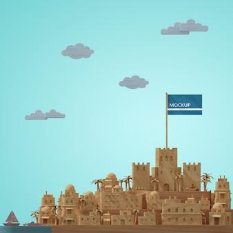 Modèle 3d miniature du bâtiment des villes