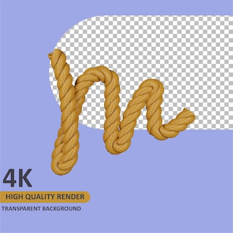 Modèle 3d rendu alphabet corde en toile de jute lettre m
