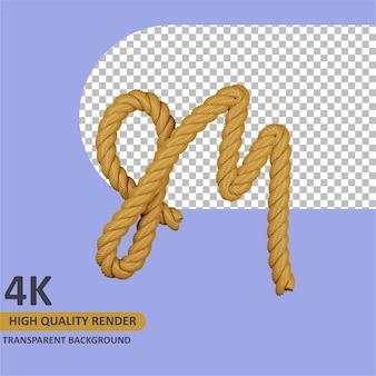 Modèle 3d rendu alphabet corde en toile de jute lettre majuscule m