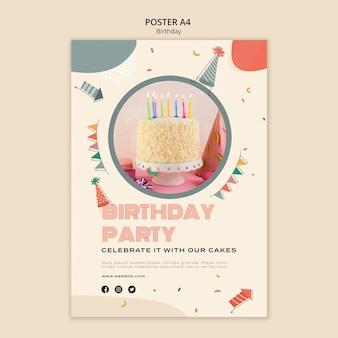 Modèle a4 d'affiche de fête d'anniversaire