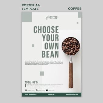 Modèle a4 d'affiche de grains de café