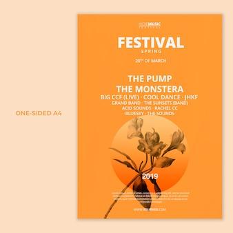 Modèle a4 face avec concept de festival de printemps
