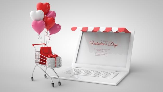 Modèle d'achat et de vente en ligne du marché de la saint-valentin. illustration 3d. ordinateur portable, cadeaux, panier, panier et ballons.