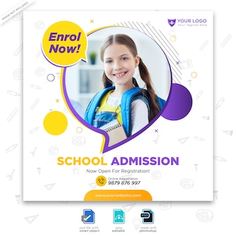 Modèle d'admission à la rentrée scolaire pour publication sur les réseaux sociaux