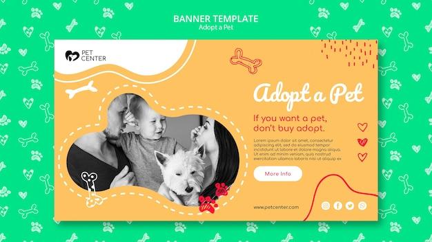 Modèle avec adopter une bannière pour animaux de compagnie