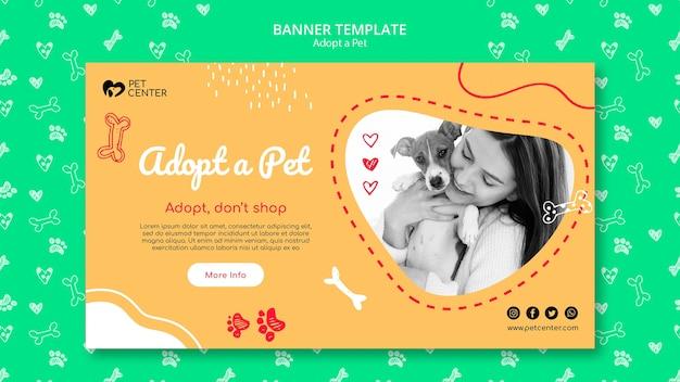 Modèle avec adopter un concept de bannière pour animaux de compagnie