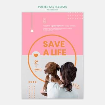 Le Modèle D'affiche Adopte La Conception Pour Animaux Psd gratuit