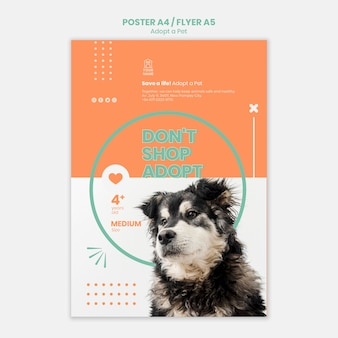 Modèle d'affiche adopter le concept d'animal de compagnie