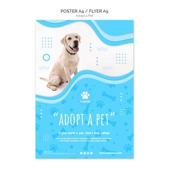 Modèle d'affiche avec adopter le thème pour animaux de compagnie