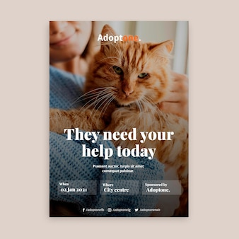 Modèle d'affiche d'adoption avec photo