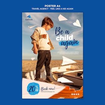 Modèle d'affiche d'agence de voyage enfant sur la plage