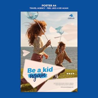 Modèle d'affiche d'agence de voyage avec des enfants