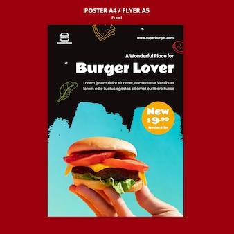 Modèle d'affiche d'amant de hamburger