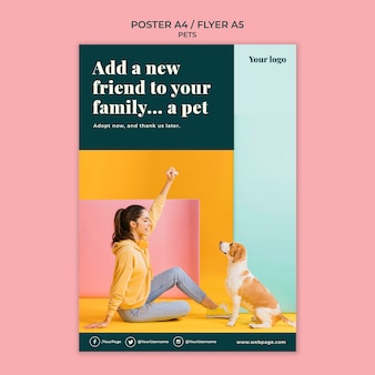 Modèle d'affiche d'animaux de compagnie