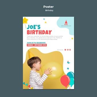 Modèle d'affiche d'anniversaire pour enfant