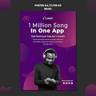 Modèle d'affiche d'application de chansons