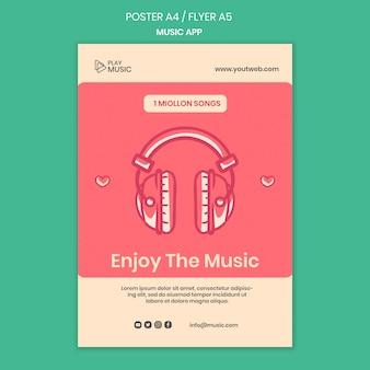 Modèle d'affiche d'application de musique