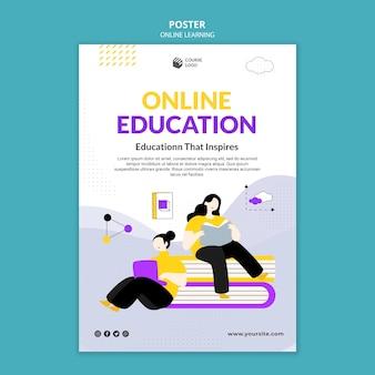 Modèle d'affiche d'apprentissage en ligne illustré