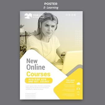 Modèle d'affiche d'apprentissage en ligne