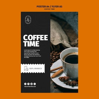 Modèle d'affiche arabica coffee time