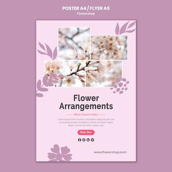 Modèle d'affiche d'arrangements floraux
