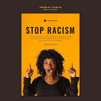Modèle d'affiche arrêter le racisme
