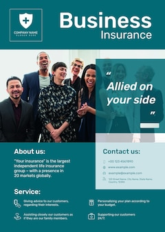 Modèle d'affiche d'assurance entreprise psd avec texte modifiable