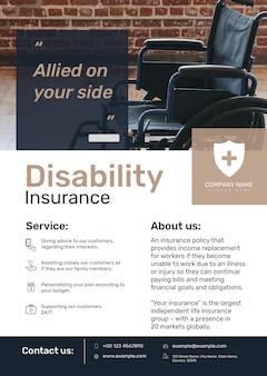 Modèle d'affiche d'assurance invalidité psd avec texte modifiable