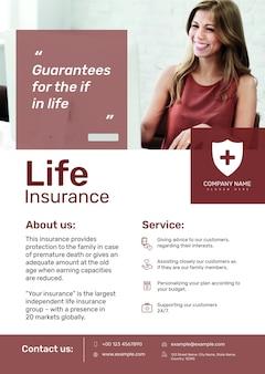 Modèle d'affiche d'assurance-vie psd avec texte modifiable