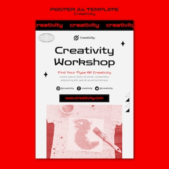 Modèle D'affiche D'atelier De Créativité Psd gratuit