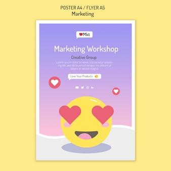 Modèle d'affiche d'atelier marketing avec visage souriant
