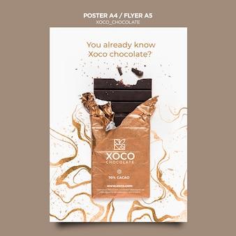 Modèle d'affiche au chocolat savoureux