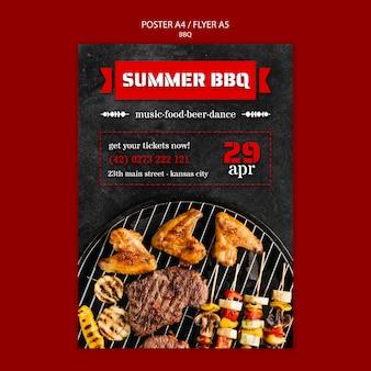 Modèle d'affiche avec barbecue