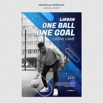Modèle d'affiche de basket-ball urbain
