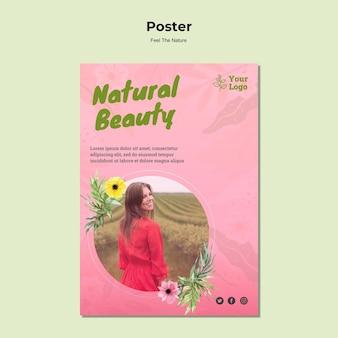 Modèle d'affiche de beauté naturelle