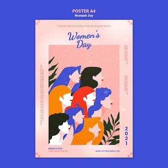 Modèle d'affiche de la belle journée des femmes illustré