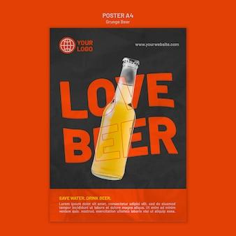 Modèle d'affiche de bière grunge