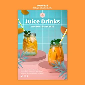 Modèle d'affiche de boissons de profondeur et de réalisme 3d