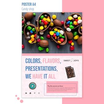 Modèle d'affiche de boutique de bonbons créatifs avec photo