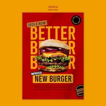 Modèle d'affiche de burger grunge
