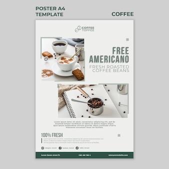 Modèle d'affiche de café americano