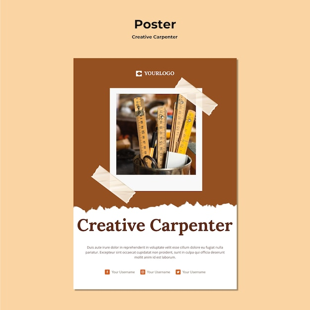 Modèle d'affiche de charpentier créatif